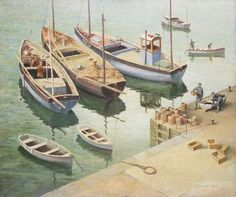 "Thomas Henslow Barnard, ""Fishing Boats, Mevagissey,"" (1954-5)"