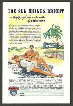 Greyhound Bus 1939 Florida Travel AD Bathing Suit Couple Palm Tree Tourism