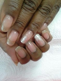 Natural Nails with Gel Overlay and Glitter Accent Nails