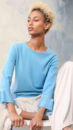 The Thapa sweater is a must-have addition to your summer wardrobe. Made from 85% pure silk and 15% cashmere, it is perfect for the sunny weather. Shop online now at www.castanea.ie Sunny Weather, Pure Silk, Summer Wardrobe, Cashmere Sweaters, Color Pop, Ss, Fashion Photography, Bell Sleeve Top, Sweaters For Women