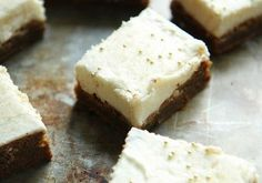 Gingerbread Bars w/ Cream Cheese Frosting makes 24 small bars ◦1 1/2 cup butter, softened ◦2 cup sugar ◦1/2 cup molasses ◦2 egg ◦4 cups flour ◦4 tsp baking soda ◦1 tbl cinnamon ◦2 tsp ginger ◦1 tsp cloves ◦1 tsp salt Preheat to 350 degrees ; 9×13 jelly roll pan w/ parchment  Cream butter & sugar until fluffy. Add molasses and eggs; combine well. Combine the dry ingredients and then add to batter. Combine well. Spread batter into baking pan. Bake 25 minutes and then cool.