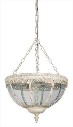 The Megan Chandelier is a bowl-style pendant/chandelier finished in a cottage white with gold accents. Let this timeless fixture cast a warm glow in your room. Chandelier Makeover, 3 Light Chandelier, Pendant Chandelier, Mason Jar Pendant Light, Kitchen Pendant Lighting, Light Pendant, Entryway Lighting, Cool Lighting, Lighting Ideas