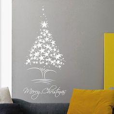 Merry Christmas Wall Decor Tree Star Vinyl Holiday Decoration Home Sticker MR846