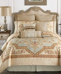 Croscill Lorraine Queen Comforter Set $149.97 The Lorraine Collection from Croscill features an engineered panel print composed of flowers and scrolls encircled in an intricate frame printed on a textured cotton ground. The neutral colors and soft pastel tones in the design create a delicate and elegant feel.