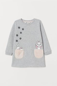 Dress in lightweight cotton-blend sweatshirt fabric. Soft printed faux shearling design, soft faux shearling patch pockets, and ribbing at cuffs and hem. Kids Outfits Girls, Girl Outfits, Casual Outfits, Spring Outfits, Little Girl Fashion, Kids Fashion, Paris Fashion, Denim Outfit, Denim Shorts