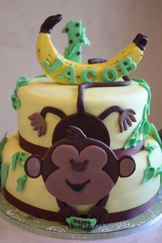 1st Birthday Monkey Cake - by Pam and Nina's Crafty Cakes @ CakesDecor.com - cake decorating website