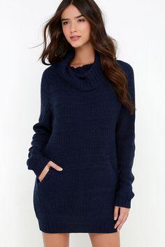 Foggiest Idea Navy Blue Sweater Dress at Lulus.com!