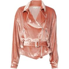 Velvet Rider Jacket ($545) ❤ liked on Polyvore featuring outerwear, jackets, pink, red motorcycle jacket, biker jacket, pink biker jacket, asymmetrical moto jacket and pink jacket