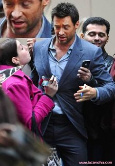 Me No Likey KISSY! THAT IS a creepily overly touchy feely fan that just couldn't quite help herself around Hugh Jackman!This Diva can't quite stop laughing at this picture of an overly aggressive female fan that LITERALLY attacked Hugh Jackman during an autograph signing outside of the ABC Studios in Manhattan before Live With Kelly & Michael.A...http://www.jaclyndiva.com/entry/hugh-jackman-doesn-t-like-aggressive-female-fans-picture