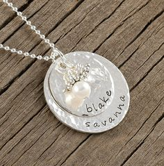 Personalized Necklace - Sterling Silver - Double Stacked - Name Pendant - Hammered - Mother's Necklace. $49.00, via Etsy.