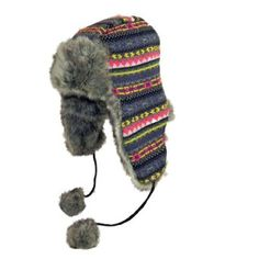 Surell Accessories Faux Fur Revisable Aztec Print Trooper Hat. One Size. Multi/Chinchilla. Surell Accessories. $19.99