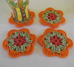 Tropical Flower Coasters  Drink Coasters  Set of four