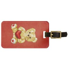 Red Heart Holding Cute Teddy Bear Tag For Luggage