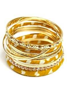 Bangle Set: Mustard Polka Dots - $19.99 : Spotted Moth, Chic and sweet clothing and accessories for women