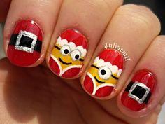 Christmas minion nails - YouTube Minion Christmas, Christmas Tree Nails, Xmas Nail Art, Xmas Nails, Christmas Nail Art Designs, Winter Nail Art, Holiday Nails, Owl Nails, Funky Nail Art