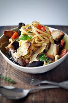 Pasta mit Steinpilzen und Auberginen-Sugo #pasta #aubergine #Nudeln #pilze #steinpilze