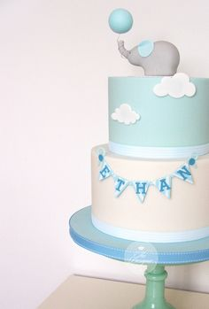 Christening cake designs, baby birthday, first birthday cakes, baby shower Baby Birthday Cakes, Baby Boy Cakes, Gateau Baby Shower, Baby Shower Cakes, Baby Boy Christening Cake, Christening Cake Designs, Christening Decorations, Elephant Cakes, Celebration Cakes