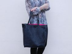 Custom made genuine leather large tote bag, pink lining. £120.00, via Etsy.