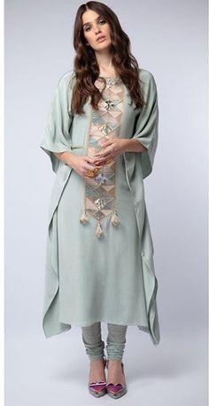 Beautiful Silk-Mul Kurti with beautiful embroidery. Pakistani Fashion Party Wear, Pakistani Dress Design, Pakistani Outfits, Indian Outfits, Indian Fashion, Salwar Designs, Kurti Designs Party Wear, Blouse Designs, Stylish Dresses