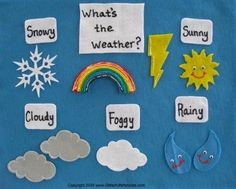Whats The Weather Felt Board Story Flannel Story Flannel Board Stories, Felt Board Stories, Felt Stories, Flannel Boards, Preschool Weather, Weather Crafts, Montessori Science, Preschool Activities, Weather Like Today