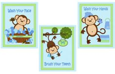Personalized Monkey Bathroom Bath Art Prints Set Blue on eBay!