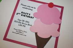 Ice Cream Invitation by Embellished Paper Kids Birthday Themes, 5th Birthday, Birthday Parties, Invitation Ideas, Invites, Party Invitations, Ice Cream Invitation, Sweet Scoops, Handmade Invitations