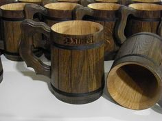 7 Wooden Beer mugs, Custom engraving,  0.7 l (23oz), natural wood,groomsmen gift, n46 by UkrainianSouvenir on Etsy