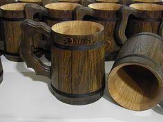 7 Wooden Beer mugs, Custom engraving,  0.7 l (23oz), natural wood,groomsmen gift, n46 by UkrainianSouvenir on Etsy