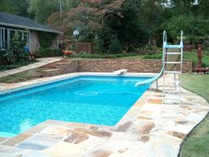 Traditional Swimming Pool with Pathway, Lap pool, Raised beds