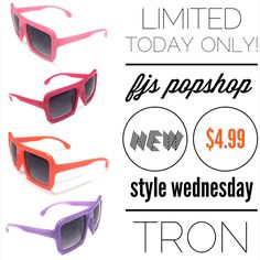 """Are you ready for today's #newstylewednesday here at @fjs_popshop ... Well today we release the awesome """"TRON"""" a new style for KIDS. These sunglasses are awesome and such a great fashion statement for the title ones to wear! Be sure to order a pair at fjspopshop.com as today is the only day they are going to be at a discounted rate. limited quantities available.#fjspopshop #newstylewednesday #fjspopshopkids #sunglasses #summer #summer2015 #kids"""