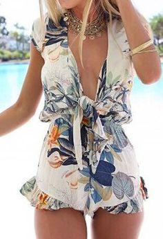 Stylish Plunging Neckline Floral Print Romper For Women