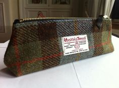 Upcycled from Harris tweed garments, a zippered pencil case retains its label for an added touch of charm and authenticity