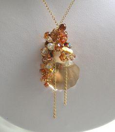 Swarovski golden shadow clam necklace 2