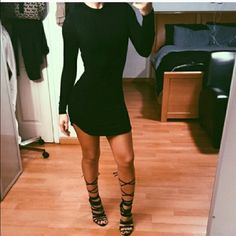 """""""So Kylie"""" style mini dress First photo is from @theora originally purchased from her closet.  Perfect condition wore once and dry cleaned. Long sleeve mini dress or can be worn as a tunic. Plain black double lined very stretchy and from fitting. no trades Missguided Dresses Mini"""