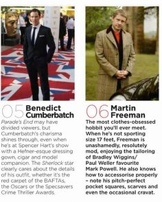 Well there ya go! Benedict and Martin, #'s 5 & 6 respectively in the readers poll!!! British GQ Best Dressed Men in Britain 2013