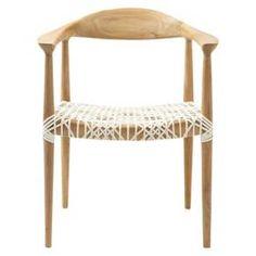 Fes Arm Chair White/Teak - Safavieh : Target