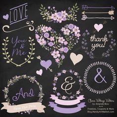 Premium Floral Clip Art & Vectors Lavender Wedding Clip Art