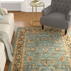 Charlton Home Cranmore Traditional Hand Tufted Wool Blue Brown Area Rug Brown Area Rugs Area Rugs Orange Area Rug