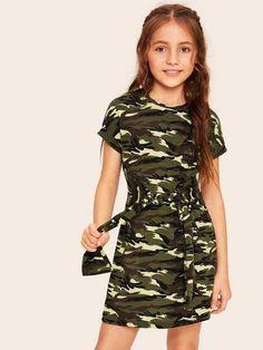 SHEIN Kiddie Girls Tie Waist Camouflage Casual Tee Dress Kids Clothing 2019 Summer Short Sleeve Short Dresses For Children , Girls Fashion Clothes, Kids Outfits Girls, Cute Girl Outfits, Tween Fashion, Cute Outfits For Kids, Teen Fashion Outfits, Cute Casual Outfits, Kids Clothing, Clothes For Tweens
