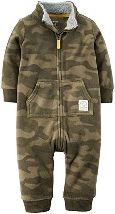 Carters Print Fleece Romper  Baby    Camo Carters is the leading brand of childrens clothing  gifts and accessories in America  selling more than 10 products for every child born in the U.S. Their designs are based on a heritage of quality and innovation that has earned them the trust of generations of families.  Features:  ul  Nickel free snaps at the legs. Ribbed cuffs. Front button placket.  /ul