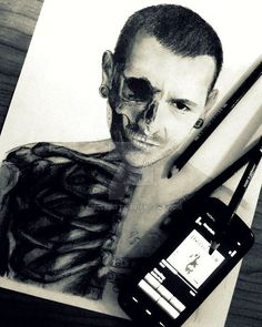 This is a pretty cool drawing of Chester Bennington! If only the artist didn't have there cell phone, covering part of the picture! kslp