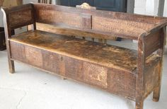 19th Century French Bench with storage and original vintage paint.