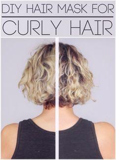 DIY Hair Mask for Curly Hair: 1 Egg 2 tbsp. Mayo, 1 tbsp. Olive Oil, 1tbsp. Honey