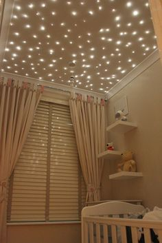 7 Ways to Top Off Your Nursery: For a starry ceiling, consider fiber-optic lights. Starscape sells custom kits for this kind of project, no matter the size of your nursery or playroom! | best stuff