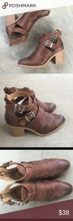 "Cognac slashed buckle crisscross strap ankle heels Buckle into these beauties. These booties are the ideal booties for any season. We love it paired with a distressed denim and heavy outerwear.  Material: Man-made, leatherette Sole: Synthetic  Measurement: Heel Height: 2.5""  Fitting: True to size Shoes Ankle Boots & Booties"