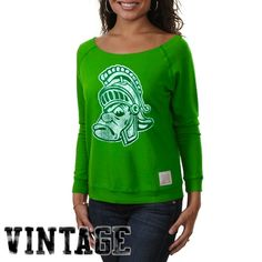 Original Retro Brand Michigan State Spartans Ladies Open Neck Raglan Fleece Sweatshirt - Green