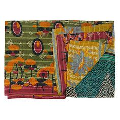 Vintage Kantha Quilt Olive Multi, $99, now featured on Fab.