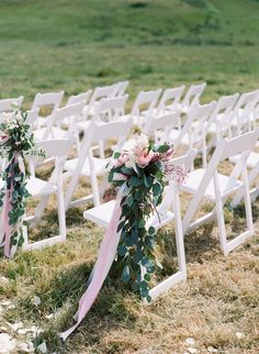 Ribbon with greenery and a few flowers for the aisle