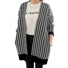 LOCOMO Women Houndstooth Knit Open Front Baggy Loose Cardigan FFJ017BLK -- You can get more details by clicking on the image.