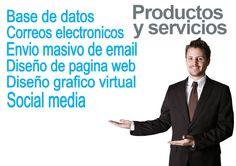 Productos y servicios Base de Datos Correos Electronicos Envio Masivo de email Diseño de Pagina Web Diseño grafico virtual Social Media www.visocym.com Seo And Sem, Marketing, Base, Socialism, Page Layout, Products